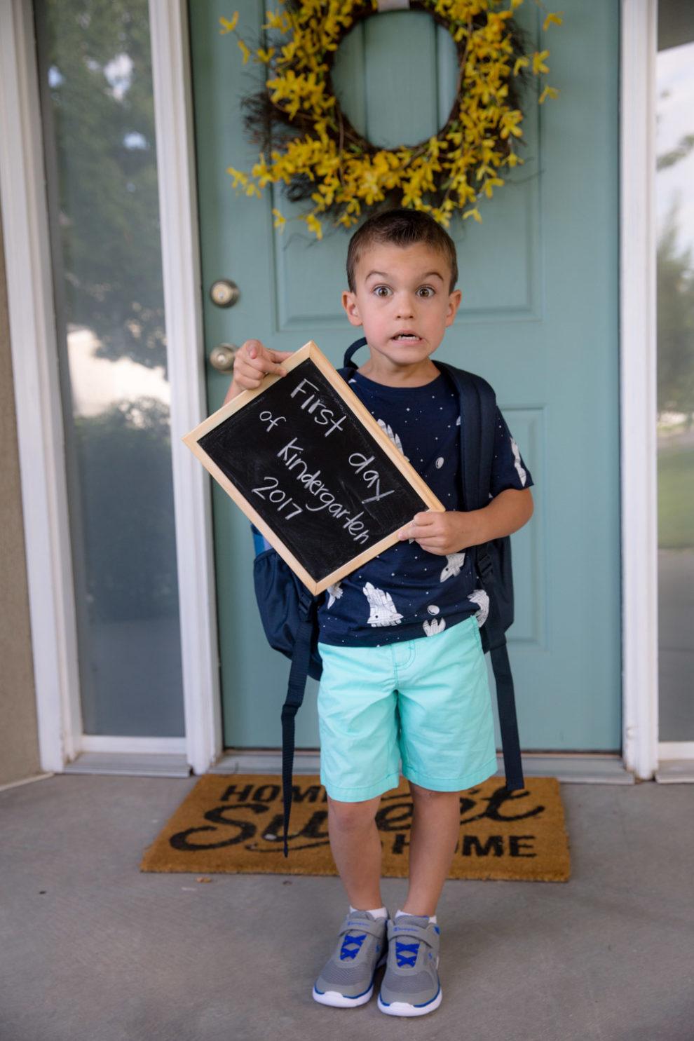 Blake First Day of Kindergarten 2017-2