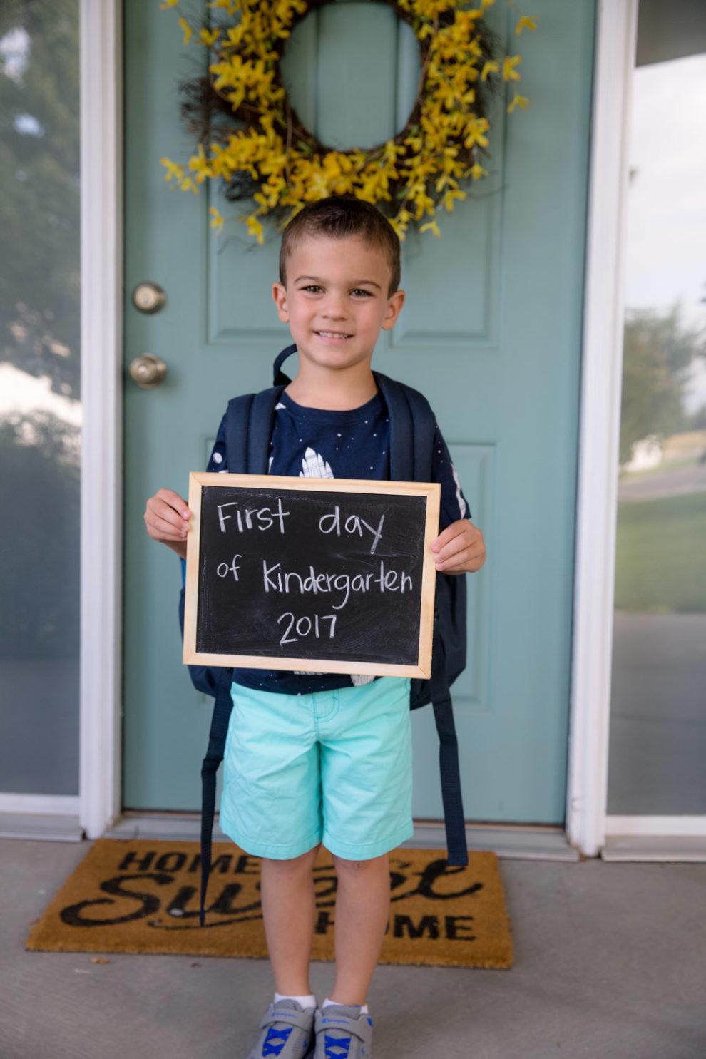 Blake First Day of Kindergarten 2017